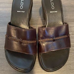 Aldo Brown Wedge Sandals
